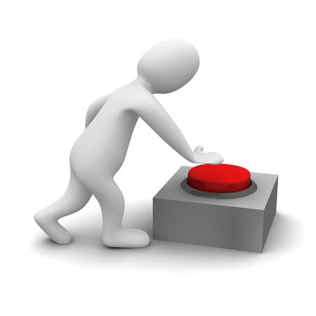 Man pushing red button. 3d rendered illustration.. 3d rendered illustration. Stock Illustration - 7335407