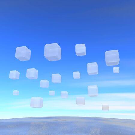 Wide ocean and flying transparent boxes. 3d rendered illustration. illustration