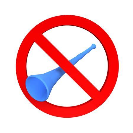 banning the symbol: Ban vuvuzela sign. 3d rendered illustration.