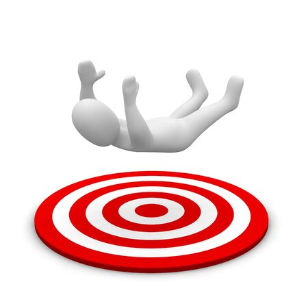 moving down: Man falling down to red target. 3d rendered illustration.