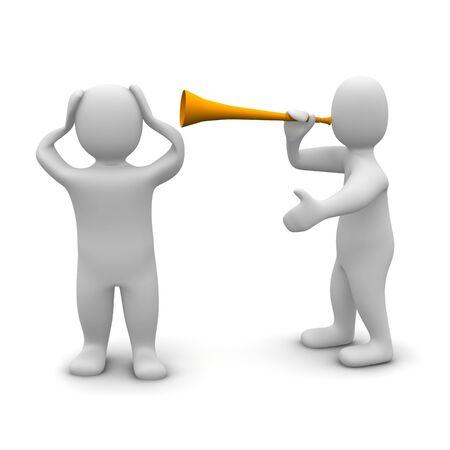 trompeta: Hombre proteger sus o�dos contra el ruido de vuvuzela. Ilustraci�n procesada 3D.