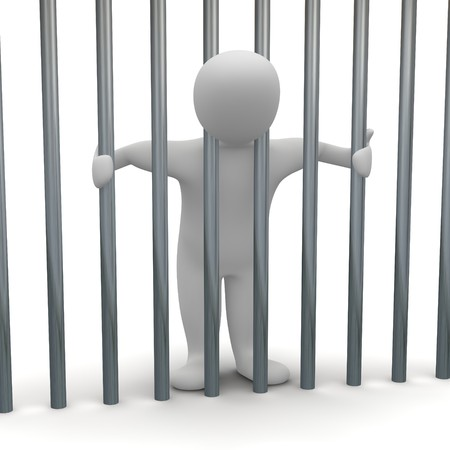 Jailed man in cell. 3d rendered illustration. Stock Photo