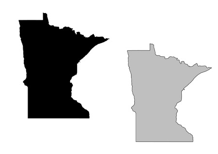 Minnesota map. Black and white. Mercator projection. Vector
