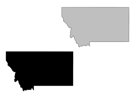 Montana map. Black and white. Mercator projection. Vector