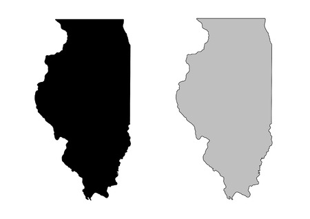 Illinois map. Black and white. Mercator projection. Illustration