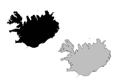 Iceland map. Black and white. Mercator projection.