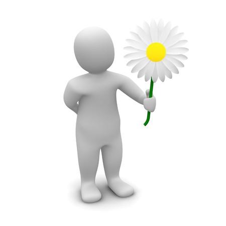 Man and flower. 3d rendered illustration. Stock Illustration - 7421283
