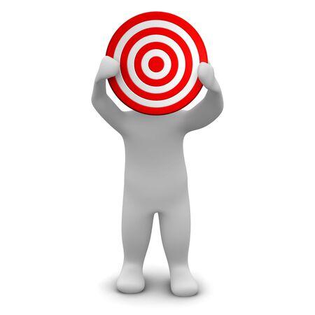 Man holding red target. 3d rendered illustration. Stock Illustration - 7421284