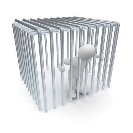 Jailed man in cage. 3d rendered illustration. Stock Photo