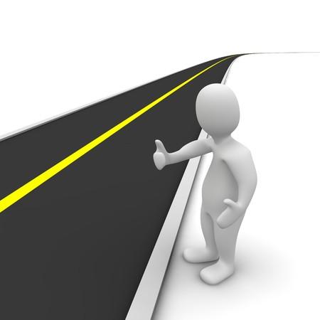 loin: Auto-stoppeur et route vide. illustration de rendu 3D.  Banque d'images