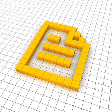 Document 3d icon in grid. Rendered illustration. Stock Illustration - 7438123