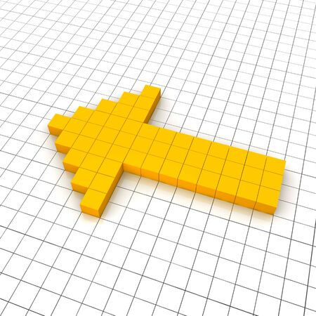 Left arrow 3d icon in grid. Rendered illustration. Stock Illustration - 7438125