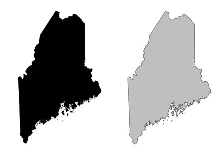 state boundary: Maine map. Black and white. Mercator projection.