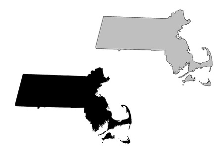 Massachusetts map. Black and white. Mercator projection.