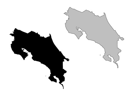 costa rica: Costa Rica map. Black and white. Mercator projection.