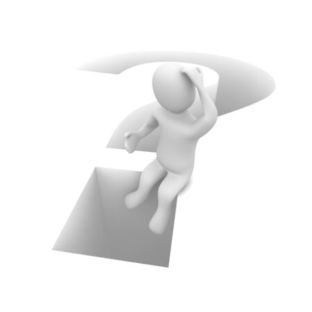 Sitting man and question mark. 3d rendered illustration. illustration