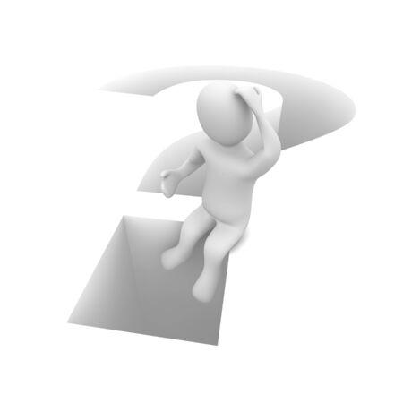 Sitting man and question mark. 3d rendered illustration. illustration