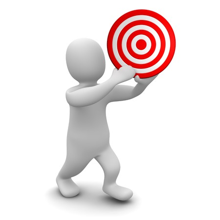 Man holding red target. 3d rendered illustration. Stock Photo