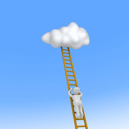 Man climbing to the sky. 3d rendered illustration. illustration