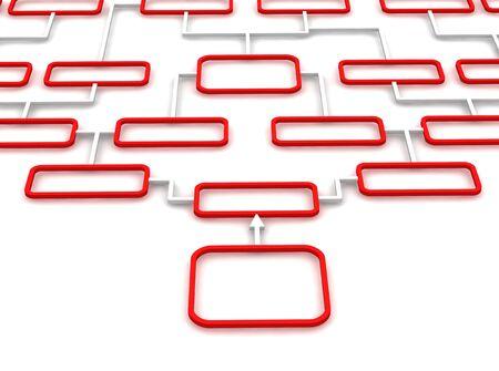 mapa de procesos: Diagrama esquem�tico rojo y blanco. Ilustraci�n procesada 3D.  Foto de archivo