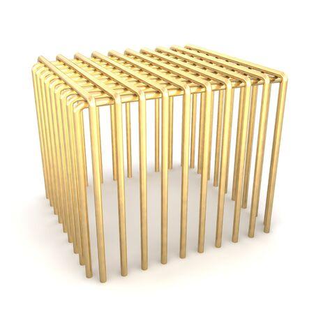 Golden cage. 3d rendered illustration. Stock Illustration - 7473321
