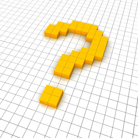 3d question mark icon in grid. Rendered illustration. Stock Illustration - 7473323