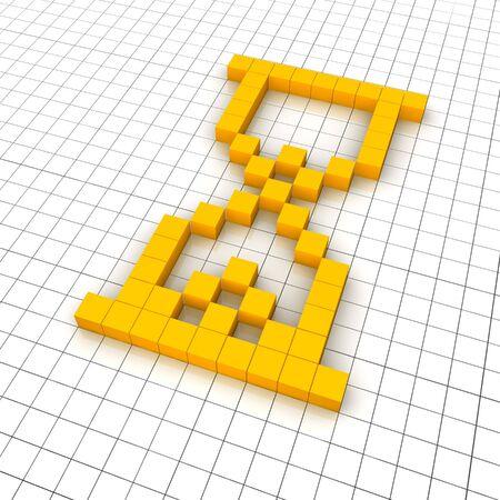 Sandglass 3d icon in grid. Rendered illustration. Stock Illustration - 7473324