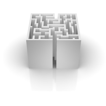Isolated labyrinth with reflection. 3d rendered illustration. illustration