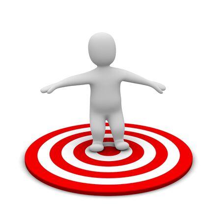Man and red target. 3d rendered illustration. Stock Illustration - 7524470