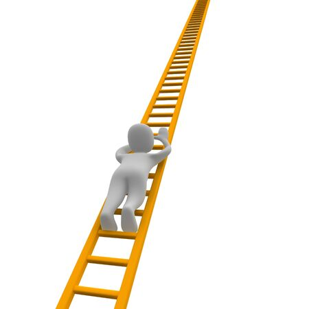 puppets: Climbing man and ladder. 3d rendered illustration. Stock Photo