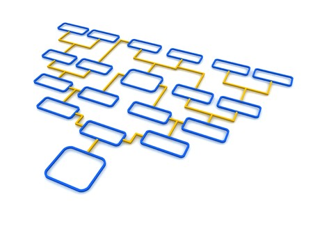 schematic: Blue and orange schematic diagram. 3d rendered illustration.