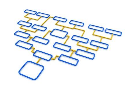 schematic diagram: Blue and orange schematic diagram. 3d rendered illustration.