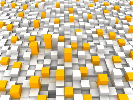 closely: Abstract orange and white blocks background. 3d rendered illustration.