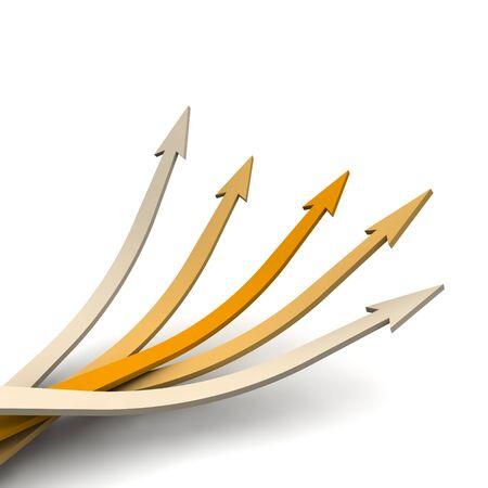 flechas curvas: Flechas de naranjas con una direcci�n. Ilustraci�n procesada 3D.
