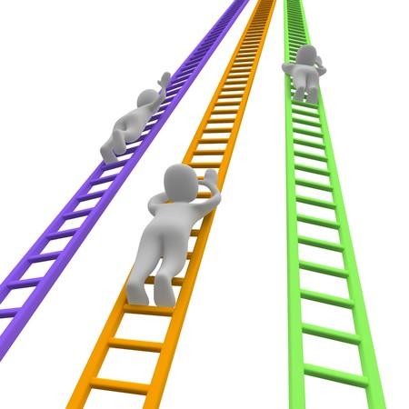 clamber: Concorrenza e le scale. illustrazione di rendering 3D.