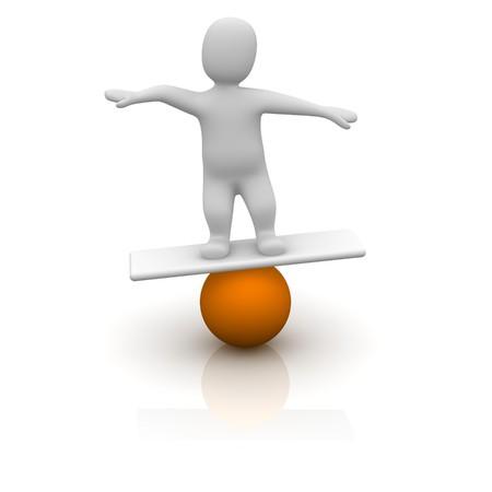 Man balancing on orange ball. 3d rendered illustration. illustration
