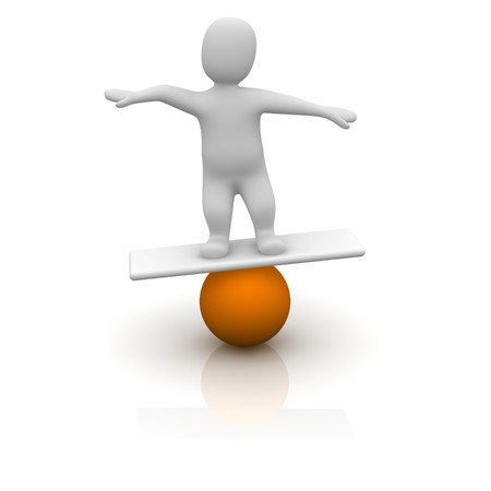 stability: Man balancing on orange ball. 3d rendered illustration.