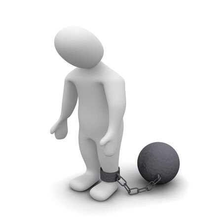 prison ball: Punished criminal. 3d rendered illustration isolated on white.