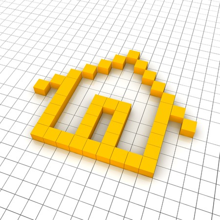 crosshatch: Home 3d icon in grid. Rendered illustration.