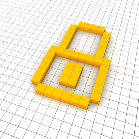 Lock 3d icon in grid. Rendered illustration. Stock Illustration - 7578964