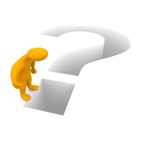 Man and question mark. 3d rendered illustration. illustration