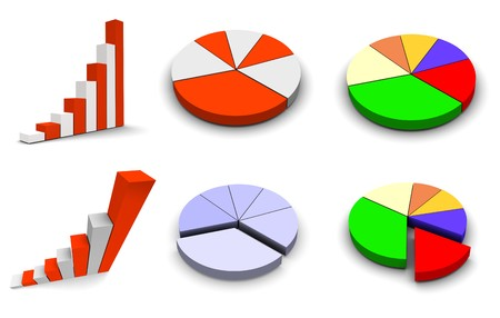 Set of 6 graph icons. 3d rendered.