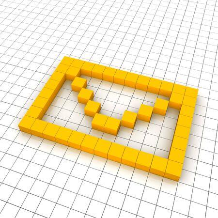 3d mail envelope icon in grid. Rendered illustration. Stock Illustration - 7622657