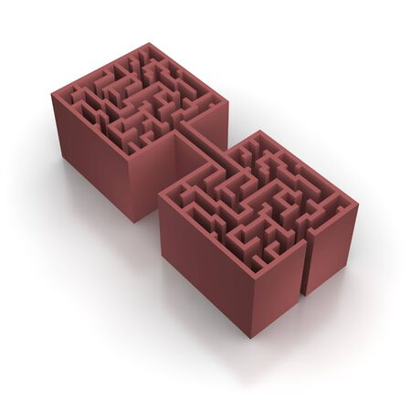 unsolvable: Red connected maze. 3d rendered illustration.