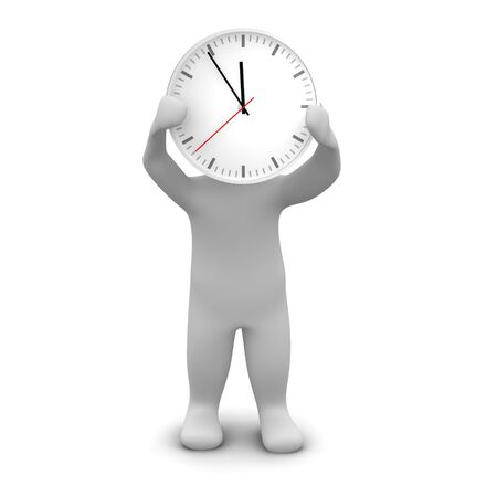 red head: Man and clock. 3d rendered illustration.