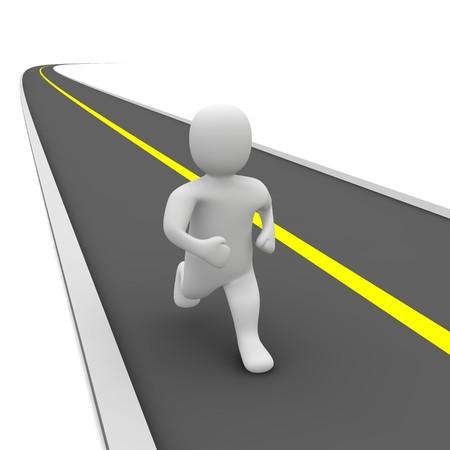 run way: Running man and empty road. 3d rendered illustration.