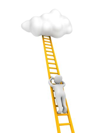 step up: Man climbing to the cloud. 3d rendered illustration. Stock Photo
