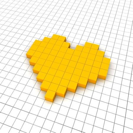 Heart 3d icon in grid. Rendered illustration. Stock Illustration - 7685474