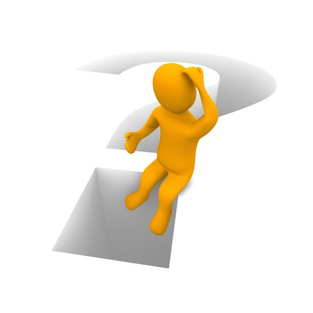 Sitzung denkenden Menschen und Fragezeichen. 3D gerenderten Abbildung.  Standard-Bild