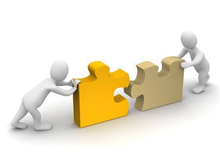 entreprise puzzle: Deux incessamment compl�ter puzzle. illustration de rendu 3D.  Banque d'images
